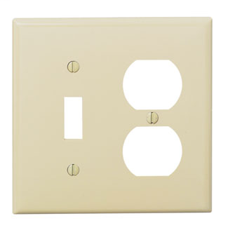 Leviton 80705-I 4.56 x 0.22 x 4.5 Inch 2-Gang Smooth Ivory Thermoplastic Nylon Device Mount Standard Combination Wallplate