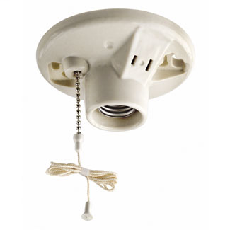 Medium Base One-Piece Glazed Porcelain Outlet Box Mount Incandescent Lampholder, Pull Chain, Single Circuit, 2 Screws Side Wired, 15A 125V Outlet Non-Grounding - White