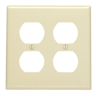 2-Gang, 2-Duplex, Receptacle Wallplate, Standard Size, Thermoplastic Nylon, Device Mount. Ivory