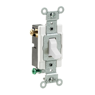 20 Amp, 120/277 Volt, Toggle 3-Way AC Quiet Switch, Commercial Spec Grade, Grounding, Side Wire - WHITE