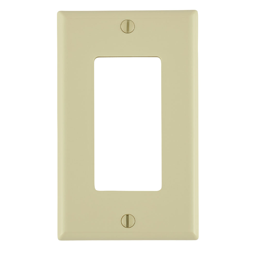 1-Gang Decora/GFCI Device Decora Wallplate/Faceplate, Standard Size, Thermoplastic Nylon, Device Mount, - Ivory