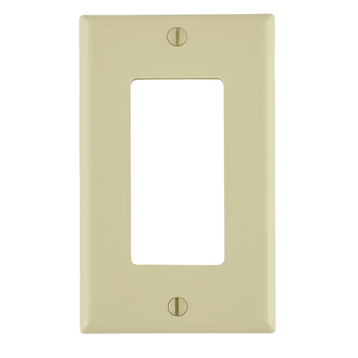 1-Gang Decora/GFCI Device Decora Wallplate/Faceplate, Standard Size, Thermoplastic Nylon, Device Mount, - Ivory