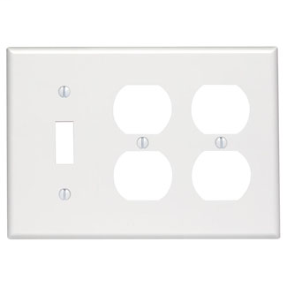 Leviton 80747-W 3-Gang 1-Toggle 2-Duplex Device Mount Thermoplastic Nylon White Combination Wallplate
