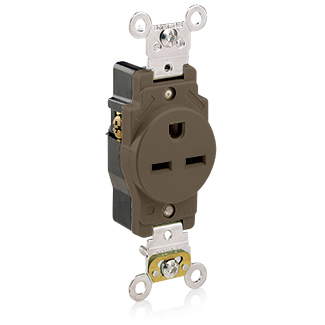Leviton 5661 15 Amp 250 Volt NEMA 6-15R 2-Pole 3 Wire Heavy Duty Specification Grade Brown Single Receptacle
