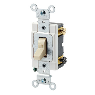 20 Amp, 120/277 Volt, Toggle Double-Pole AC Quiet Switch, Heavy Duty Spec Grade, Grounding, Back & Side Wired - IVORY