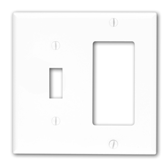 Leviton 80707-W 4.56 x 0.22 x 4.5 Inch 2-Gang Smooth White Thermoplastic Nylon Device Mount Standard Combination Wallplate