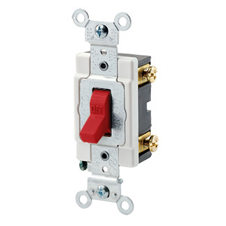 20 Amp, 120/277 Volt, Toggle Single-Pole AC Quiet Switch, Heavy Duty Spec Grade, Grounding, Back & Side Wired - RED