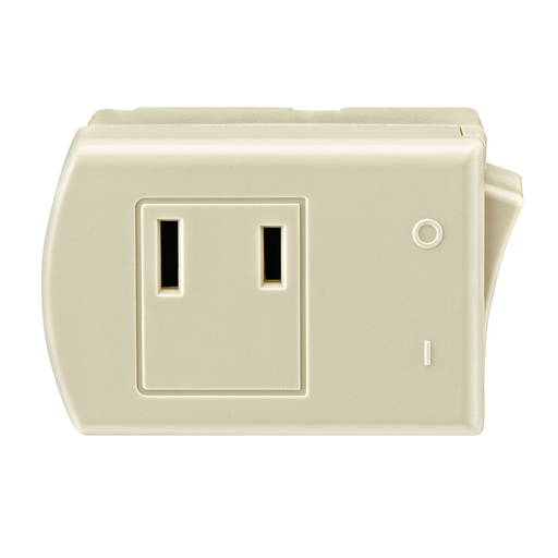 13 Amp, 125 Volt, 2-Pole, 2-Wire, Non-Grounding Plug-In Switch Tap - Ivory