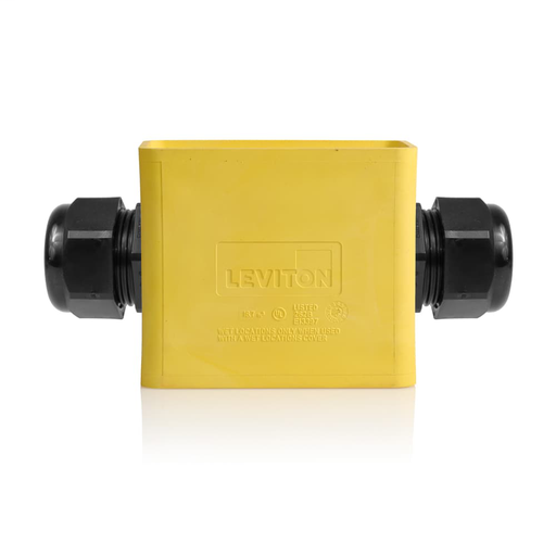 Single-Gang Portable Outlet Box, Standard Depth, Feed-Thru Style, Yellow