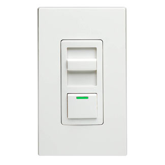 LEVITON 1000W, 120 Volt AC 60Hz, Single-Pole & 3-Way, IllumaTech Preset Electro-Mechanical Incandescent Slide Dimmer, LED Locator Light. White face assembled to device. Ivory and Light Almond color change kits included.