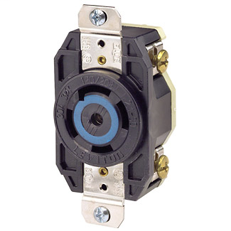 Leviton 2810 30 Amp 120/208 Volt NEMA 4-Pole 5 Wire Flush Mounting Industrial Grade Grounding Black Locking Receptacle