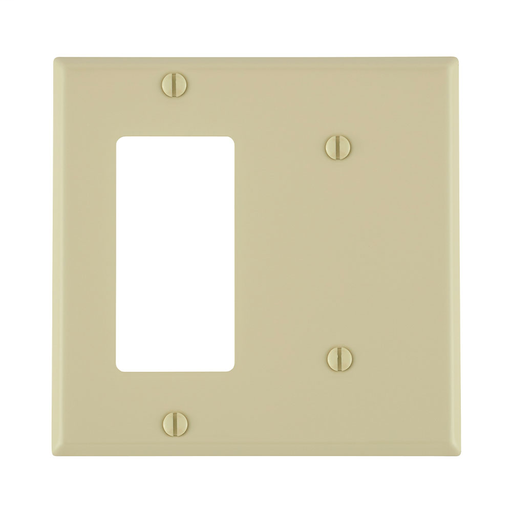 2-Gang 1-Blank 1-Decora/GFCI Device Combination Wallplate, Standard Size, Painted Metal, Strap Mount - Ivory
