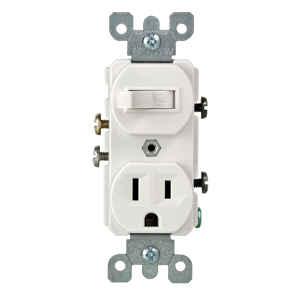 Duplex Style Single-Pole / 5-15R Combination Switch, White