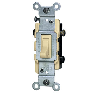 Leviton 1453-2I 120 VAC 15 Amp 1/2 Hp 3-Way Ivory Thermoplastic Grounding Framed Toggle Quiet Switch
