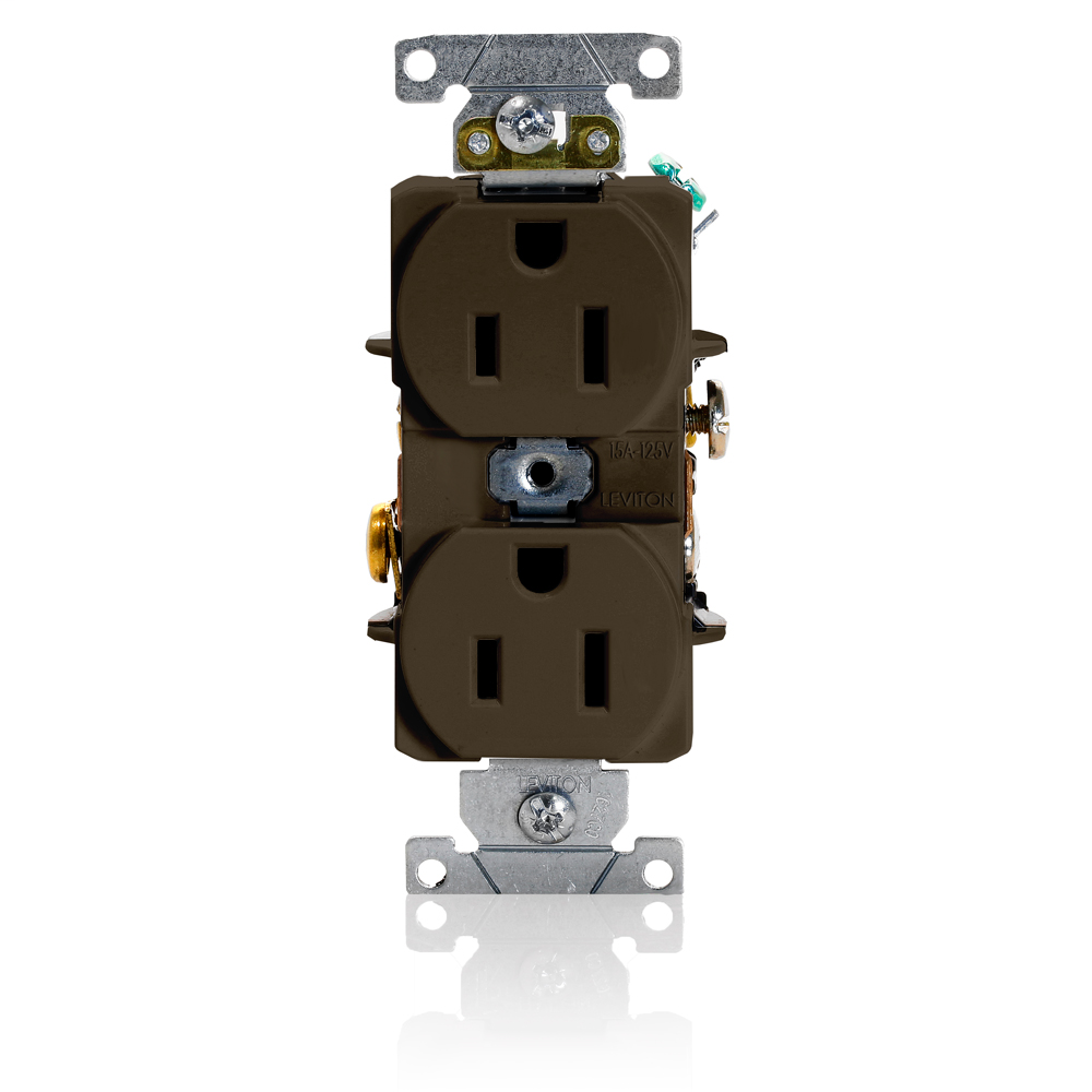 Duplex Receptacle Outlet, Heavy-Duty Industrial Specification Grade, Smooth Face, 15 Amp, 125 Volt, Back or Side Wire, NEMA 5-15R, 2-Pole, 3-Wire, Self-Grounding - Brown