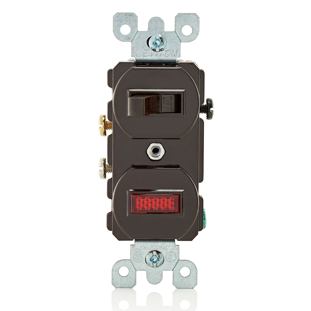 Leviton 5226 120/277 VAC 15 Amp Brown Thermoplastic Non-Grounding Duplex Combination Switch