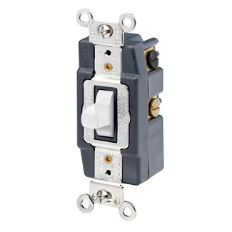 15 Amp, 120/277 Volt, Toggle Double-Throw Ctr-OFF Maintained Contact Double-Pole AC Quiet Switch, Extra Heavy Duty Spec Grade, Grounding, Back & Side Wired, - White