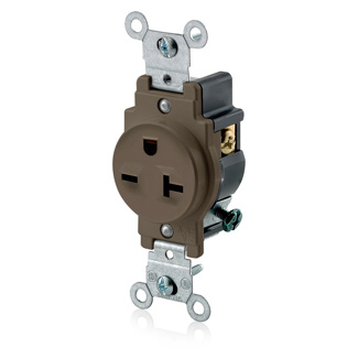 Single Receptacle Outlet, Commercial Specification Grade, Smooth Face, 20 Amp, 250 Volt, Side Wire, NEMA 6-20R, 2-Pole, 3-Wire, Self-Grounding - Brown