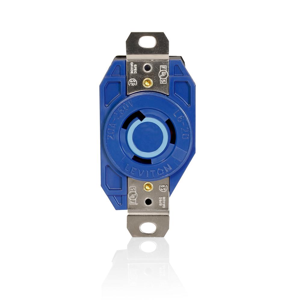 LEV 2320-BU L6-20 BLUE SINGL RECEP