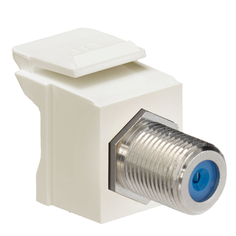 Leviton 41084-FTF 75 Ohm Nickel Plated Light Almond Plastic Female-to-Female Screw-On Feed-Through F-Connector