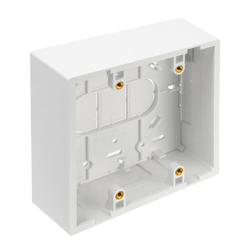 "Surface-Mount Back Box, Dual Gang, 1.89"" Box Depth, White"