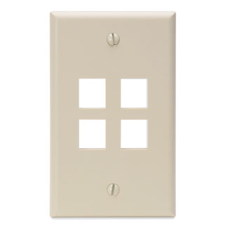 Single-Gang QuickPort Wallplate, 4-Port, Ivory