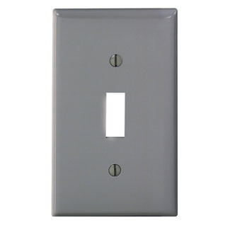 Leviton 80701-GY 2.75 x 0.22 x 4.5 Inch 1-Gang Smooth Gray Thermoplastic Nylon Device Mount Standard Toggle Switch Wallplate