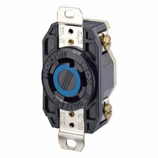Leviton 2720 250 Volt 30 Amp 3-Pole 4-Wire NEMA L15-30R 3 Hp Black Nylon Grounding Flush Mount Locking Receptacle