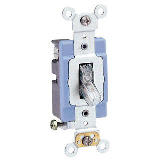 15 Amp, 120 Volt, Toggle Pilot Light - Illuminated ON - Req. Neutral Single-Pole AC Quiet Switch, Industrial Grade, Self Grounding, Back & Side Wired, - Clear