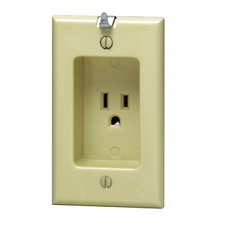 1-Gang Single Recessed Receptacle, 15 A, 125 Volt, 2-Pole, 3-Wire, NEMA 5-15R, Residential Grade with Clock Hanger Hook - Ivory