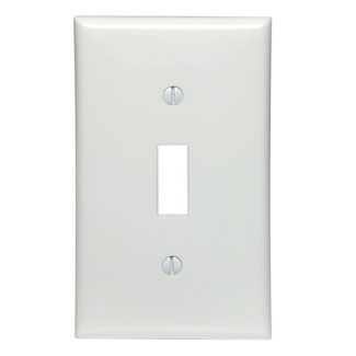 Leviton 80701-W 2.75 x 0.22 x 4.5 Inch 1-Gang Smooth White Thermoplastic Nylon Device Mount Standard Toggle Switch Wallplate