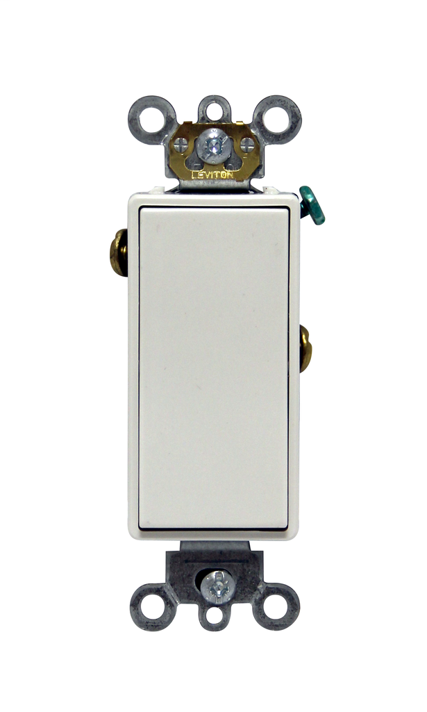 Leviton 5691-2W 15 Amp 120/277 Volt Decora Plus Rocker 1-Pole White AC Quiet Switch