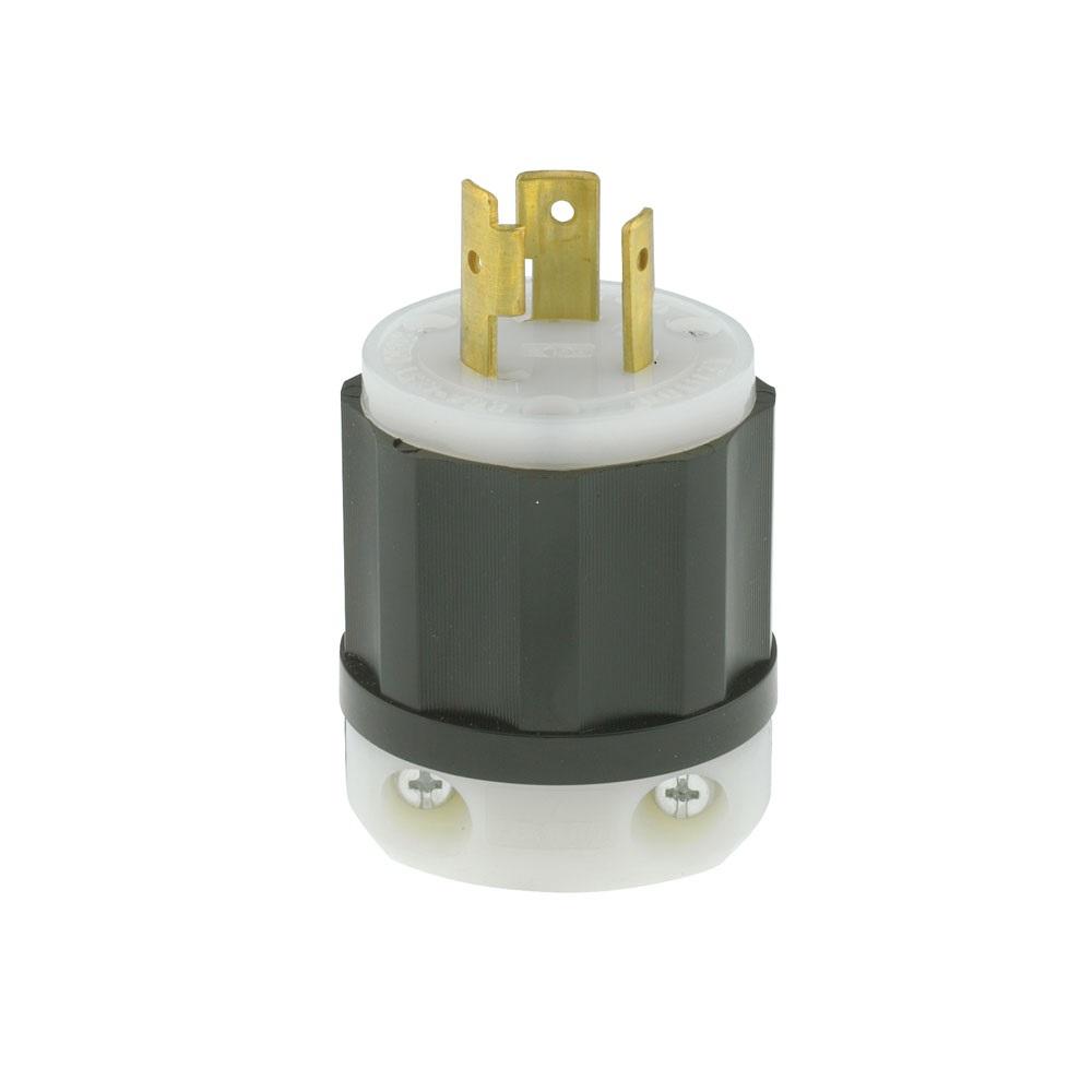 Leviton 2311 125 Volt 20 Amp 2-Pole 3-Wire NEMA L5-20P 1 Hp Black/White Nylon Grounding Locking Plug