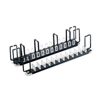 Leviton 49252-PO2 19 x 3.5 Inch Black 16 Gauge Steel 2-Position Flat Cable Organizer Panel