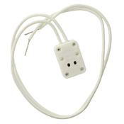 Miniature bi-pin quartz lampholder, with-two white leads, 12 inches long, stripped free end 1/2 inch, PK-93039-10-00-2B Disclaimer sheet pkd in carton. 18awg sew-1 200c 300v glass braided TC, COF: unglazed. Packaged 1/polybag, 25/master carton polybagged
