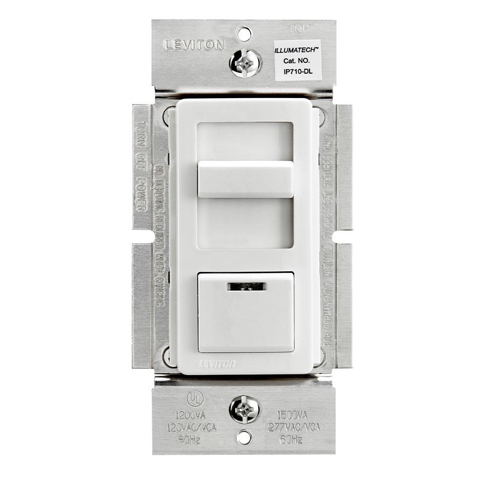 Leviton IP710-DLZ 120/277 VAC 1200 VA 1-Pole 3-Way White/Ivory/Light Almond Electro Mechanical Fluorescent Slide Dimmer