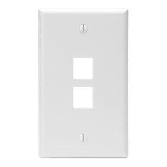Leviton 41080-2WP 2.75 x 0.45 x 4.5 Inch 1-Gang 2-Port White Plastic Flush Mount Wallplate
