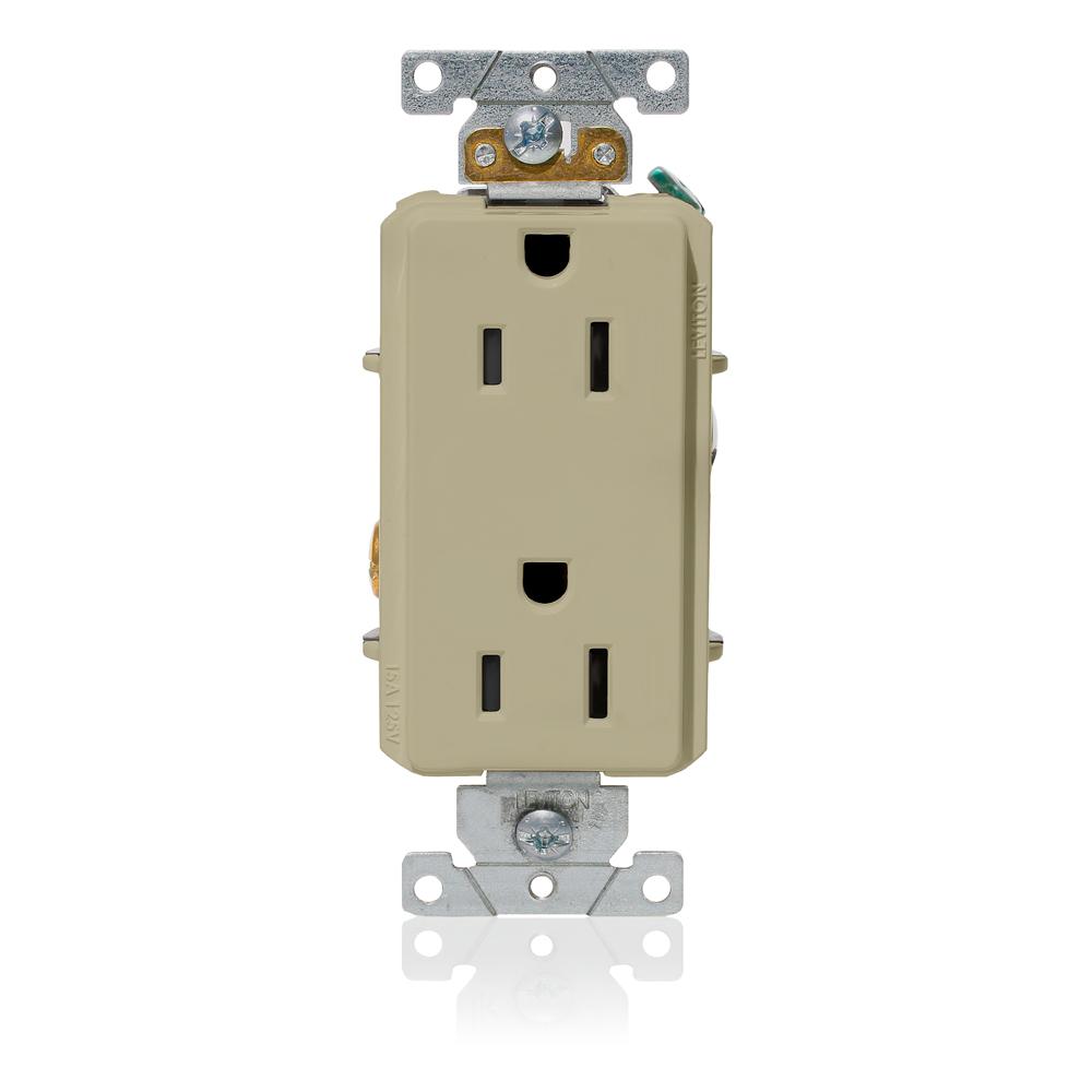 Leviton 16252-I 125 Volt 15 Amp 2-Pole 3-Wire NEMA 5-15R 1/2 Hp Ivory Thermoplastic Nylon Straight Blade Duplex Receptacle