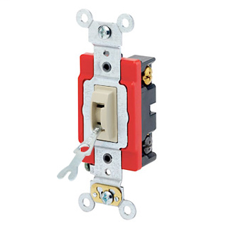 20 Amp, 120/277 Volt, Toggle Locking 4-Way AC Quiet Switch, Industrial Grade, Self Grounding, Back & Side Wired, - Ivory
