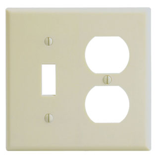 Leviton 86005 4.56 x 0.22 x 4.5 Inch 2-Gang Smooth Ivory Thermoset Device Mount Standard Combination Wallplate