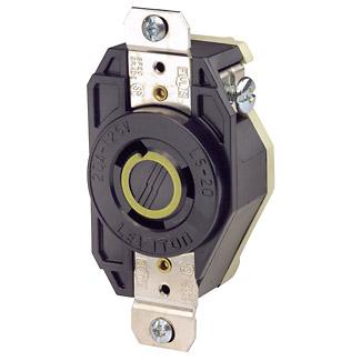 Leviton 2310 125 Volt 20 Amp 2-Pole 3-Wire NEMA L5-20R 1 Hp Black Nylon Grounding Flush Mount Locking Receptacle