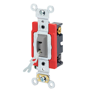 20 Amp, 120/277 Volt, Toggle Locking 4-Way AC Quiet Switch, Industrial Grade, Self Grounding, Back & Side Wired, - Gray