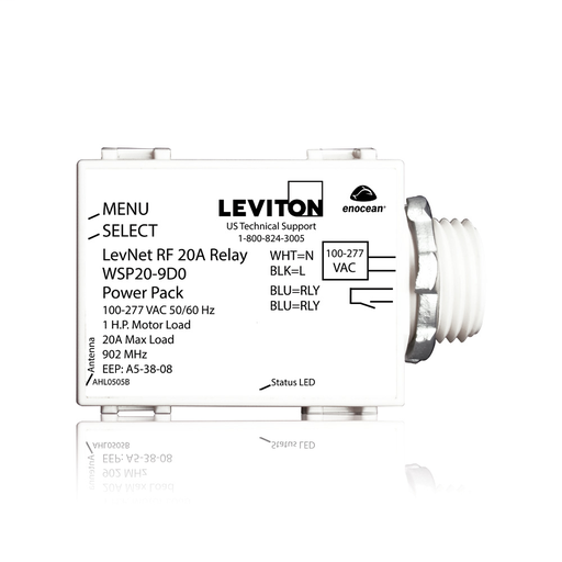 """Levnet RF Wireless 20A Relay Power Pack, Switching, 1/2"""" Threaded Nipple, 100-277V, 50/60Hz, 902MHz, EnOcean, Title 24 compliant, ASHRAE 90.1 compliant"""