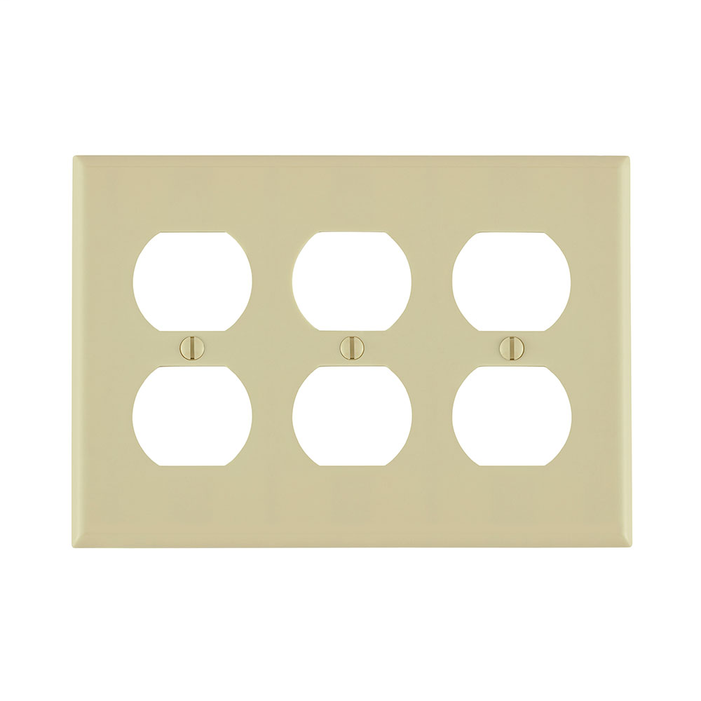 Leviton 86030 6.38 x 0.22 x 4.5 Inch 3-Gang Smooth Ivory Thermoset Device Mount Standard Duplex Receptacle Wallplate