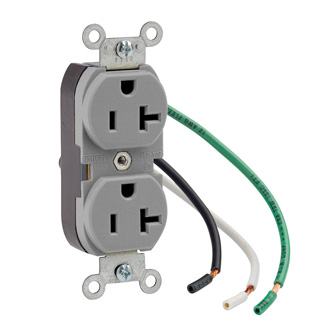 LEV 5362-LGY 20A-125V WIRE LEAD REC