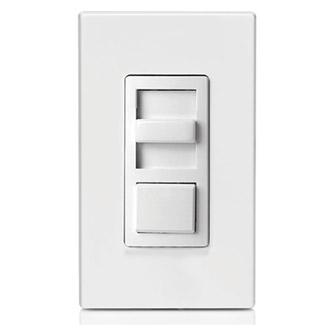 600VA, 277 Volt AC 60Hz, Single-Pole & 3-Way, IllumaTech Preset Electro-Mechanical Electronic Mark 10 Powerline Fluorescent Slide Dimmer, - White face assembled to device. Ivory and Light Almond color change kits included.