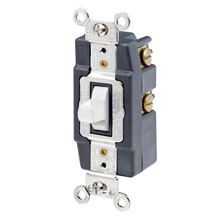 15 Amp, 120/277 Volt, Toggle Double-Throw Ctr-OFF Maintained Contact Single-Pole AC Quiet Switch, Extra Heavy Duty Spec Grade, Grounding, Back & Side Wired, - White