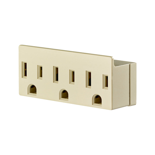 15 Amp, 125 Volt, NEMA 5-15R, 2-Pole, 3-Wire, Grounded Single-to-Triple Adapter, 3 Straight or Angle Plugs Accepted - Ivory