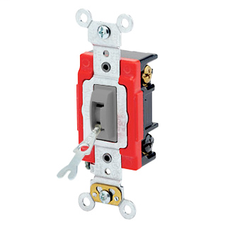 20 Amp, 120/277 Volt, Toggle Locking 3-Way AC Quiet Switch, Industrial Grade, Self Grounding, Back & Side Wired, - Gray