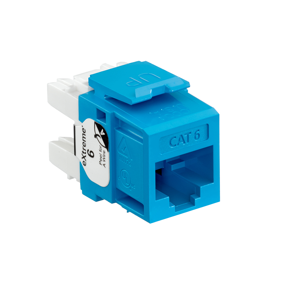 Leviton 61110-RL6 Category 6 Blue Plastic Snap-In 8-Position 8-Conductor UTP Jack Modular Connector